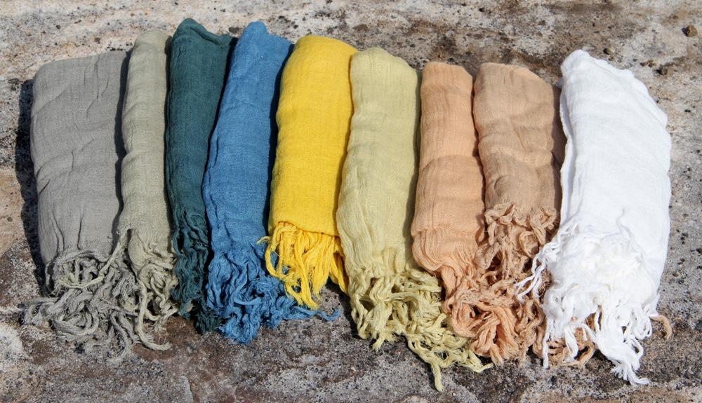 Foulard Frange 100% coton tissé main teinture végétale ayurvédique 39€