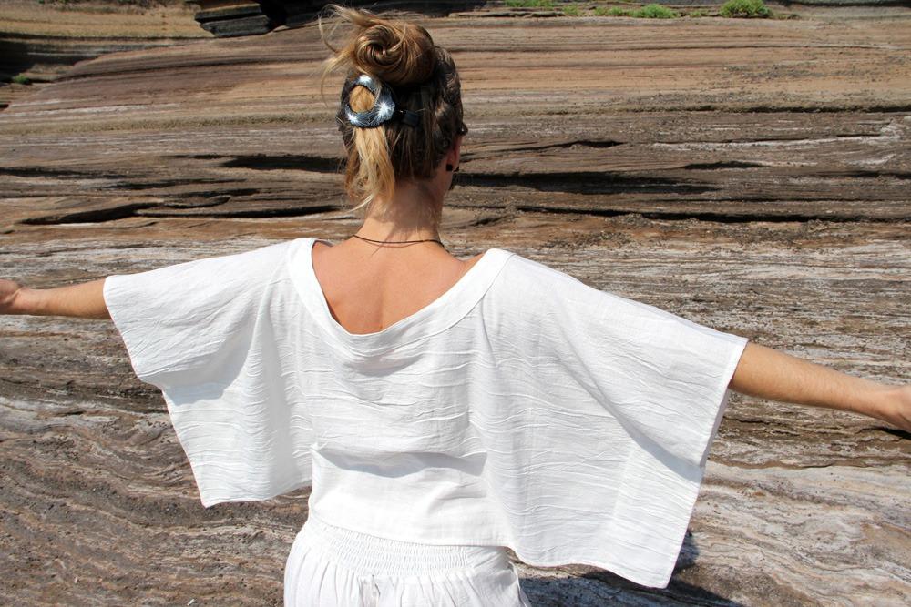 Haut Pancho 100% coton tissé main teinture végétale ayurvédique taille unique 49€