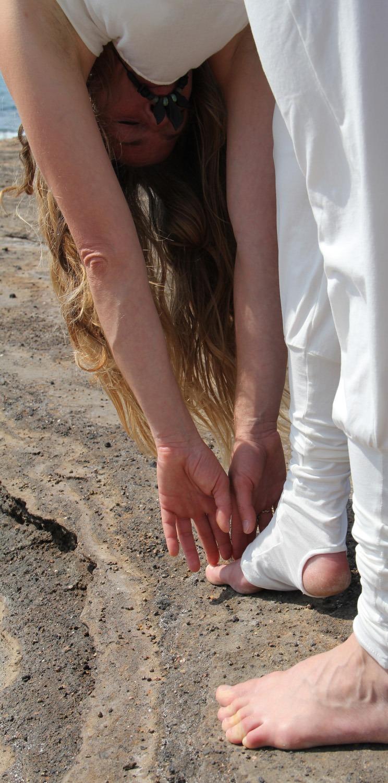 Pantalon yoga Ong blanc cassé 95% coton 5% lycra 3 tailles 39€