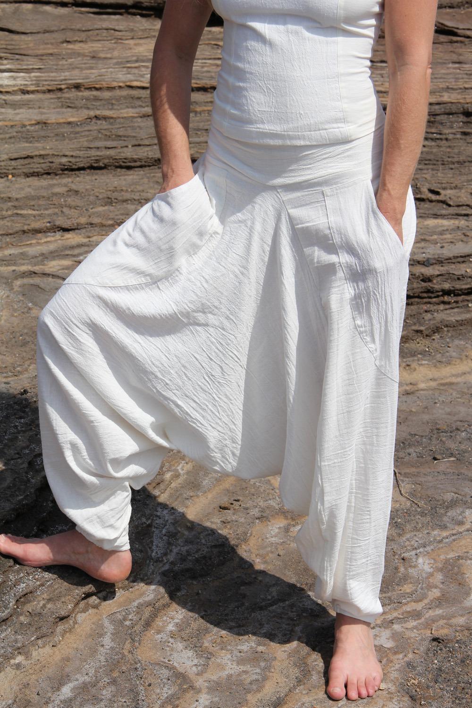 Sarouel poche 100% coton tissé main teinture végétale ayurvédique taille unique 75€