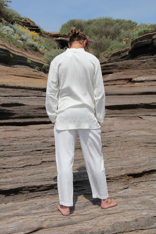 Tenue yoga Homme 100% coton tissé main teinture végétale ayurvédique Pantalon 2 tailles 75€ Chemise 2 tailles 69€