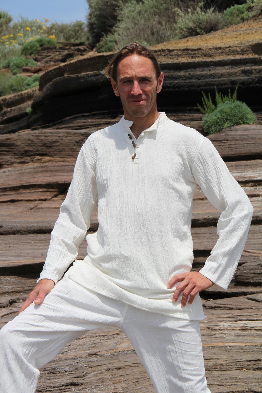 Chemise Homme 100% coton tissé main teinture végétale ayurvédique 2 tailles (sm/ml) 69€
